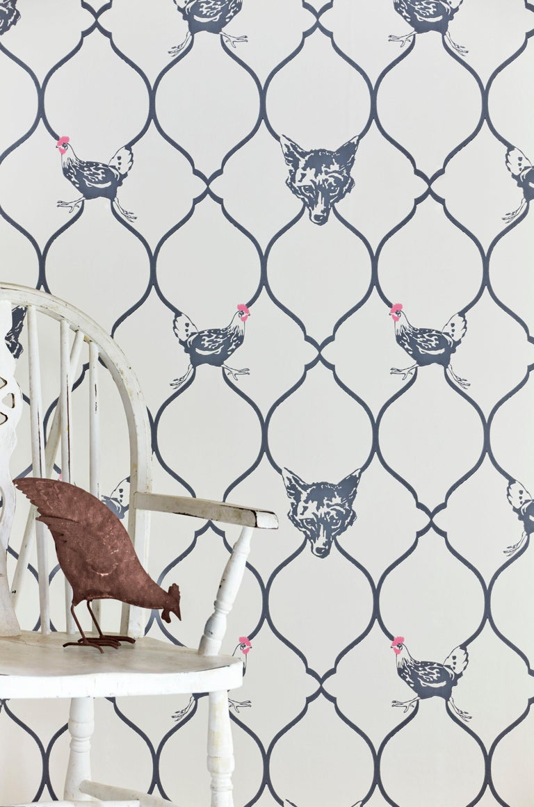 British 'Fox & Hen' Contemporary, Traditional Wallpaper in Charcoal on Parchment For Sale