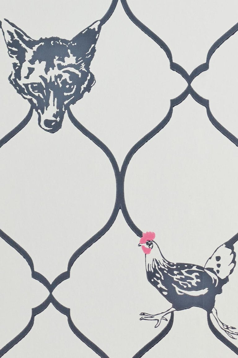 'Fox & Hen' Contemporary, Traditional Wallpaper in Charcoal on Parchment In Excellent Condition For Sale In Pewsey, Wiltshire