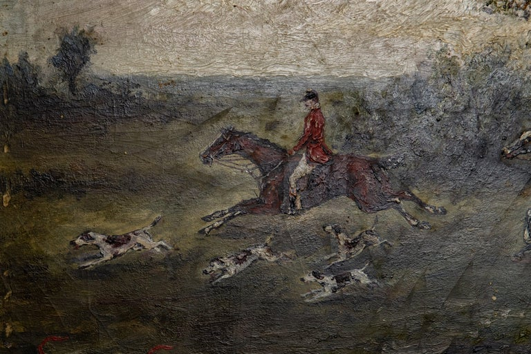 Offering this gorgeous 19th century painting of a fox hunt on board. Believed to be English. The small painting is on board and the intricate detail in the brushwork is amazing. The piece is signed but not able to make it out.