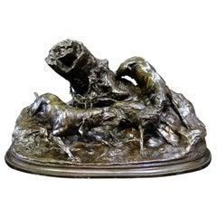 Fox Hunting, bronze by P J Mene