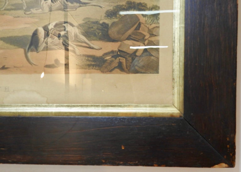 This is 19th century lithograph of fox hunting