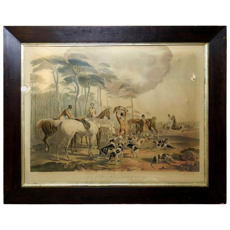 """Fox Hunting """"The Death"""" Lithograph by Artist J. F. Herring For Sale"""
