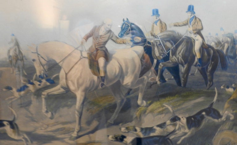 Featured is a 19th century lithograph of fox hunting