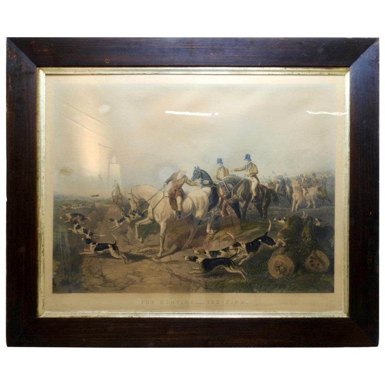 """Fox Hunting """"The Find"""" Lithograph by Artist J. R. Herring For Sale"""