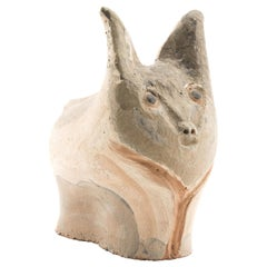 Fox/Pig Figurative Ceramic Sculpture/Painting by Jules Agard, Vallauris, 1950s