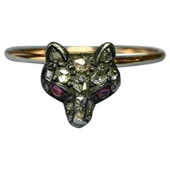 Fox Rose Cut Diamond Ruby Ring Antique Victorian Edwardian