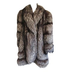 Fox Swing Coat Over sized Large Scalloped Detail Unisex - Silver Tipped 14-16