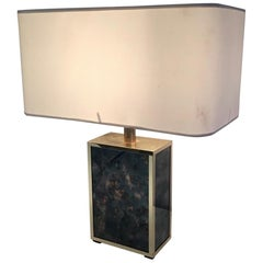 Foxed Glasses and Gild Metal Lamp in the Style of Aldo Tura, circa 1970