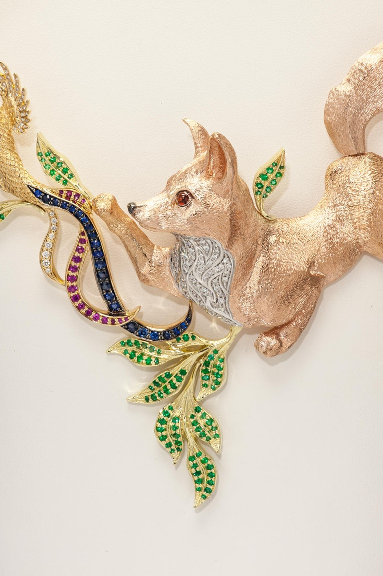 Contemporary Fabled Fox and the Pheasants Diamond Emerald Ruby Sapphire Gold Necklace For Sale