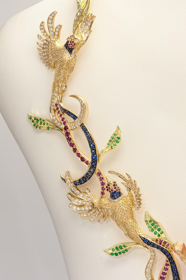 Brilliant Cut Fabled Fox and the Pheasants Diamond Emerald Ruby Sapphire Gold Necklace For Sale