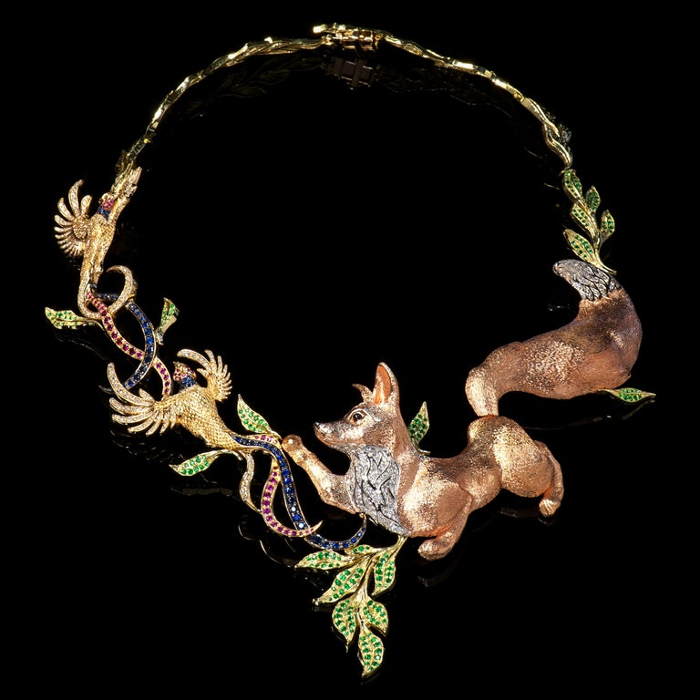 Fabled Fox and the Pheasants Diamond Emerald Ruby Sapphire Gold Necklace In New Condition For Sale In Montreal, QC