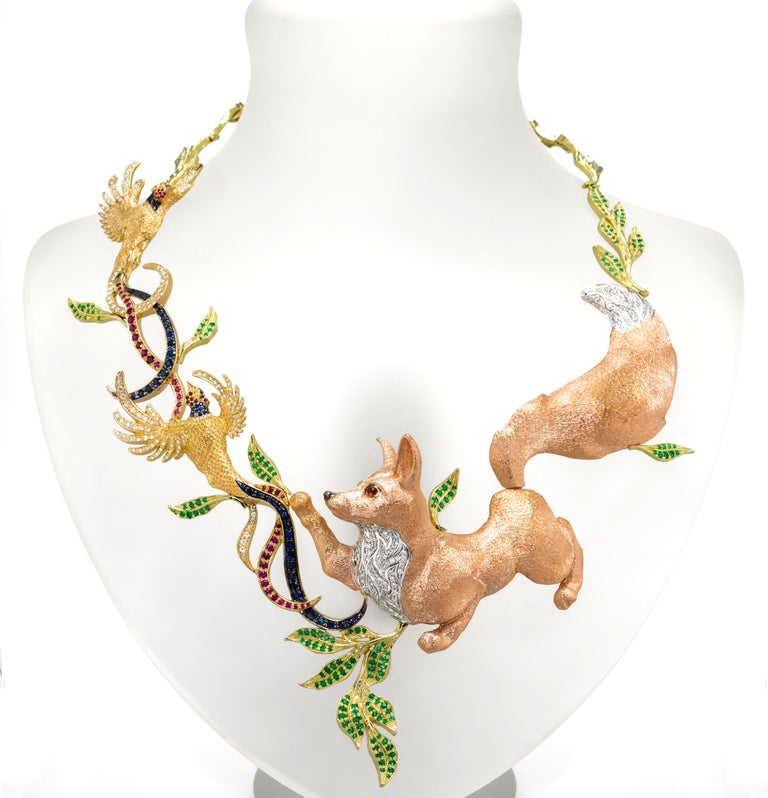 Women's Fabled Fox and the Pheasants Diamond Emerald Ruby Sapphire Gold Necklace For Sale