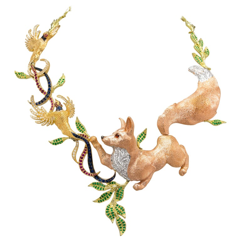 Fabled Fox and the Pheasants Diamond Emerald Ruby Sapphire Gold Necklace For Sale