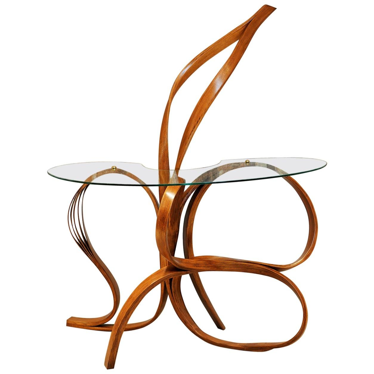Foyer Table by Raka Studio - Bent Wood with Brass Elements and Safety Glass