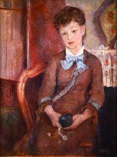 Portrait - Impressionist Oil, Woman in Interior by Frederic Samuel Cordey