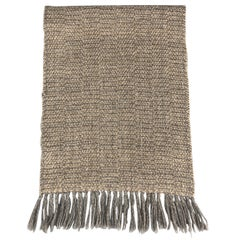 F.R. TRIPLER & CO. Taupe & Gray Woven Wool Blend Fringe Scarf