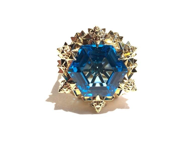 Fractal Gold Topaz Ring For Sale 5