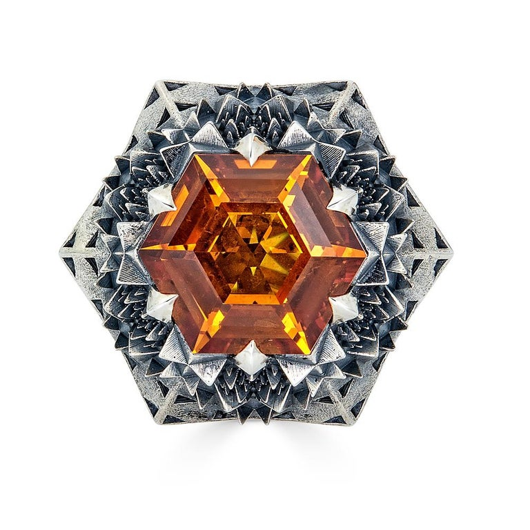 Fractal Gold Topaz Ring For Sale 8