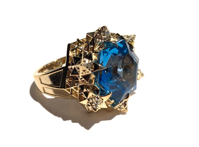 Modern Fractal Gold Topaz Ring For Sale
