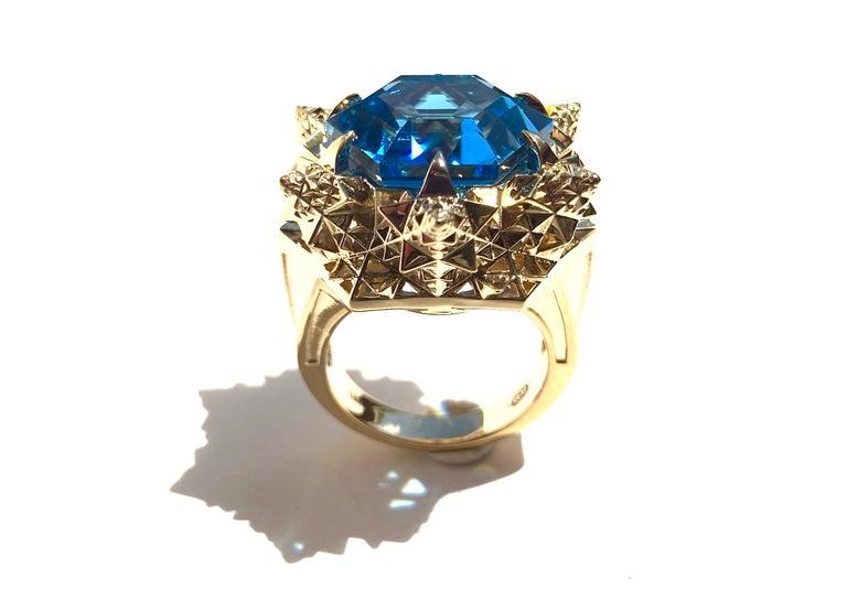 Women's or Men's Fractal Gold Topaz Ring For Sale