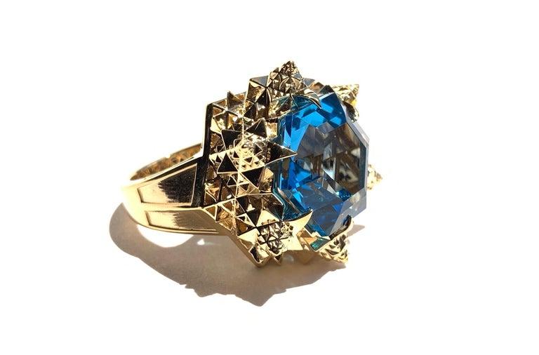 Fractal Gold Topaz Ring For Sale 1