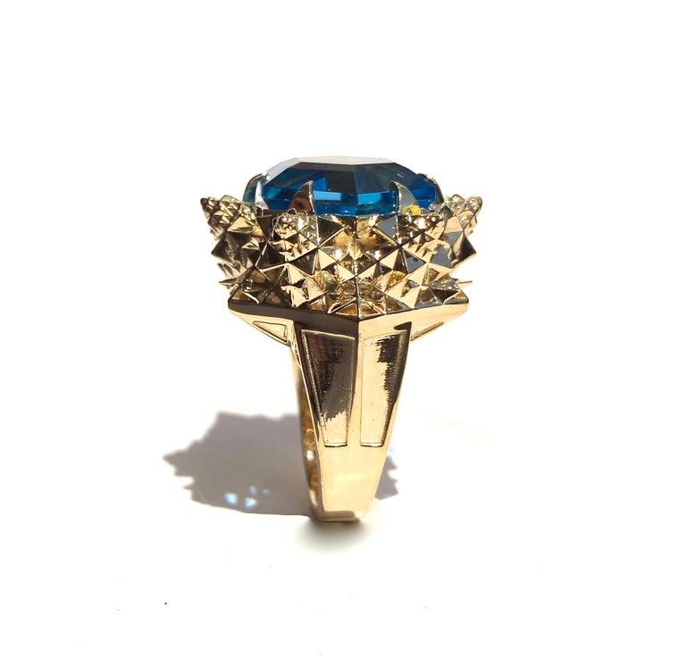 Fractal Gold Topaz Ring For Sale 2