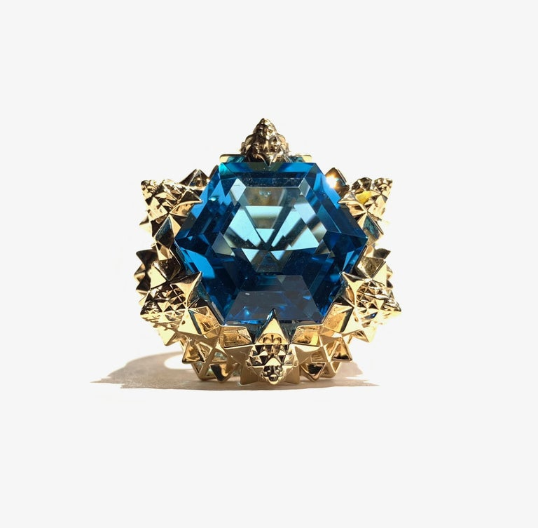 Fractal Gold Topaz Ring For Sale 4