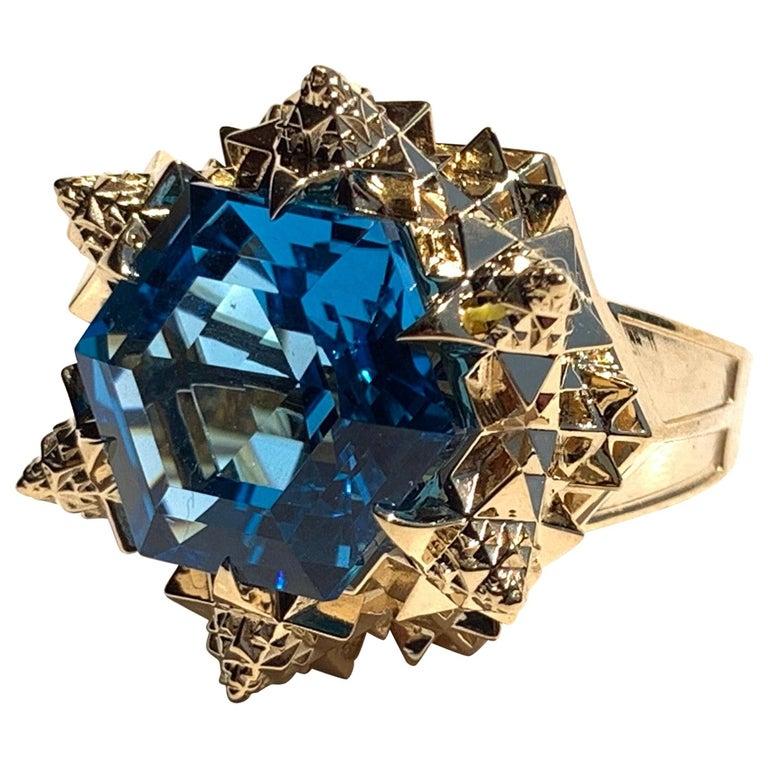 Fractal Gold Topaz Ring For Sale