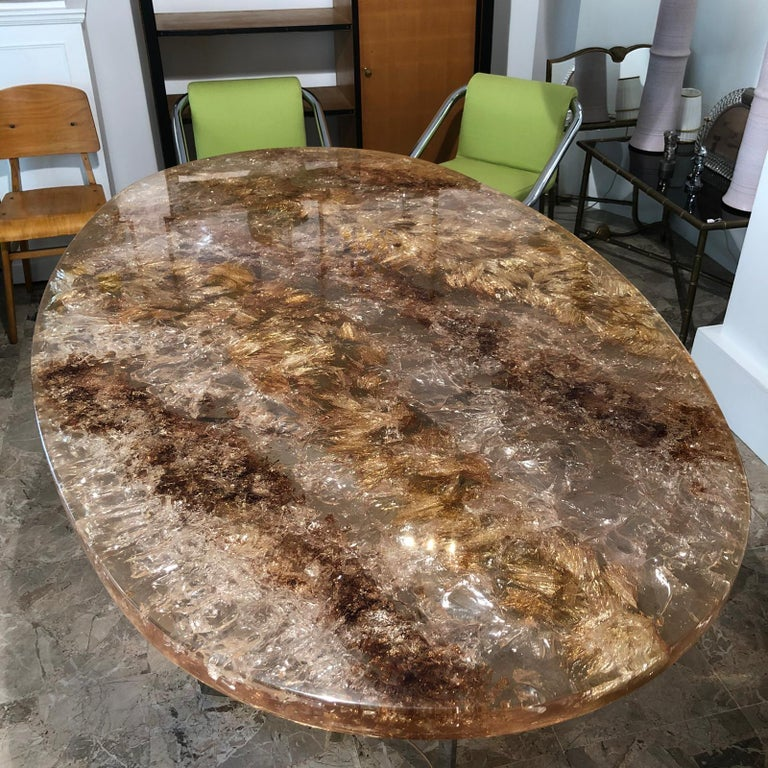 Mid-Century Modern Fractal Resin Dinning Room Table by Gilles Charbin For Sale