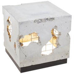 "Fractured Cast-Concrete Illuminated Minimal End Table ""Cracked Side Table"""