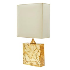 Fractured Resin and Brass Rectangular Lamp with Rectangular Shade, 1970s