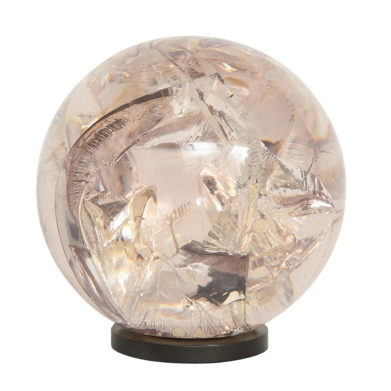 Fractured Resin Sphere Sculpture Acrylic Bronze, France, 1970s For Sale 3