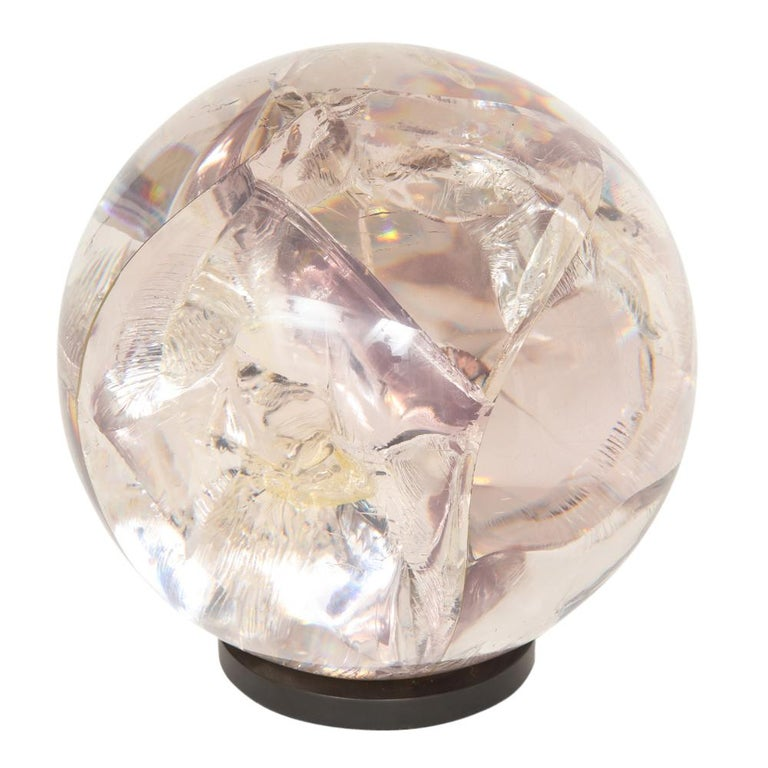 Fractured resin sphere sculpture acrylic bronze, France, 1970s. Large-scale clear acrylic sphere with a hint of light pink tone. Mounted on a bronze plated brass base which measures 1/2 inch in height by 5 inches in diameter. The fracturing of the
