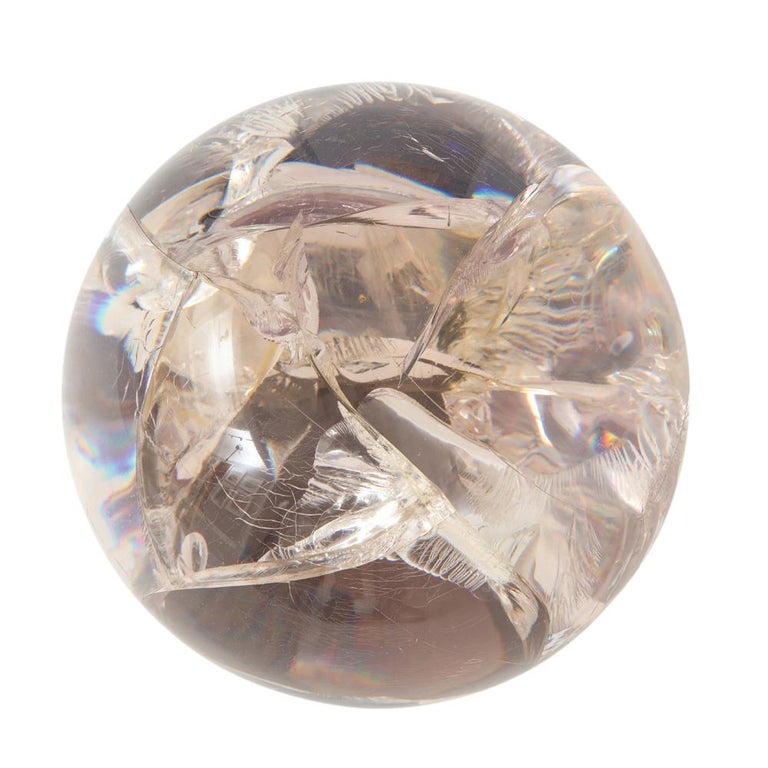Modern Fractured Resin Sphere Sculpture Acrylic Bronze, France, 1970s For Sale