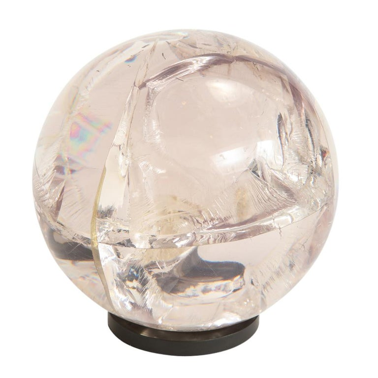 Fractured Resin Sphere Sculpture Acrylic Bronze, France, 1970s In Good Condition For Sale In New York, NY