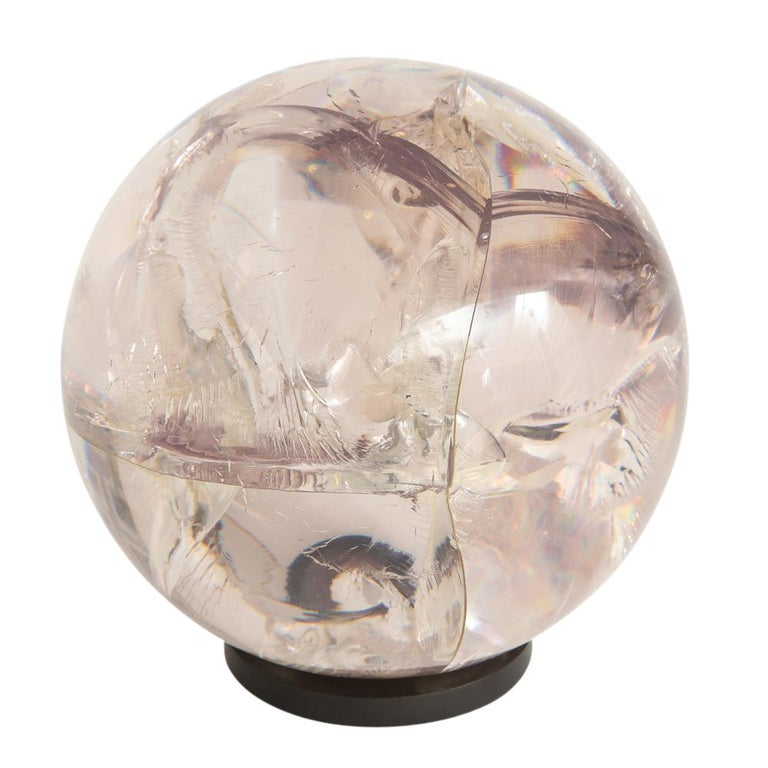 Late 20th Century Fractured Resin Sphere Sculpture Acrylic Bronze, France, 1970s For Sale