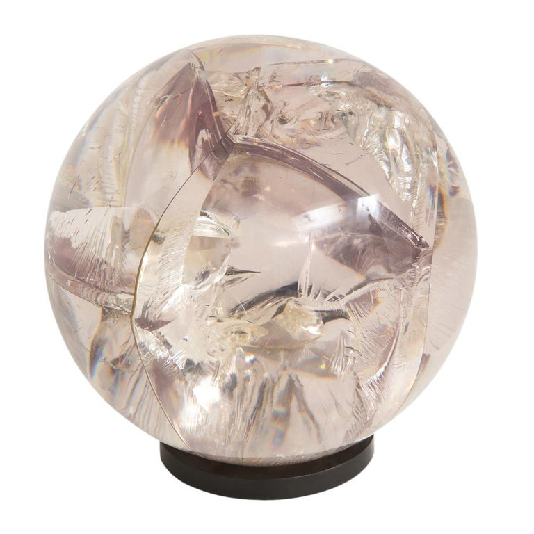 Fractured Resin Sphere Sculpture Acrylic Bronze, France, 1970s For Sale 1