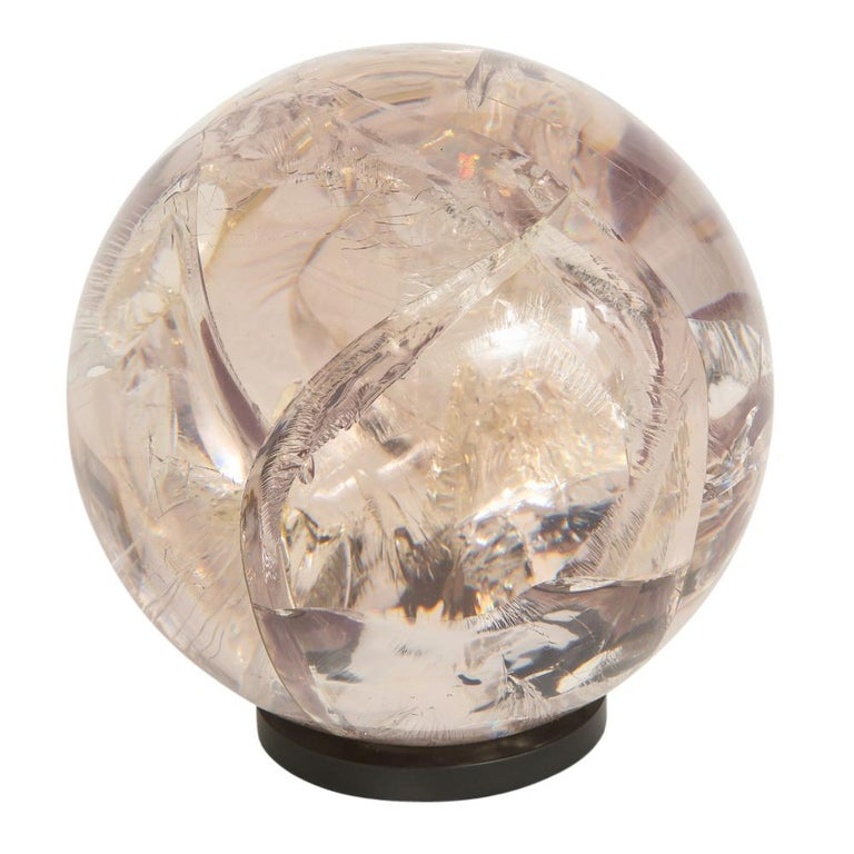 Fractured Resin Sphere Sculpture Acrylic Bronze, France, 1970s For Sale 2