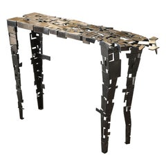 Fragmentation Console in Cast Natural and Patinated Bronze