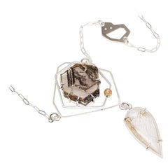 TIN HAUS Necklace in 14 Karat Yellow Gold and Sterling Silver with Quartz