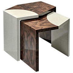 Fragments Contemporary Table Set in Burr Walnut by Luísa Peixoto