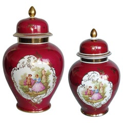 Fragonard Courting Couple Vintage Hand Painted Porcelain pair of Lidded Urns