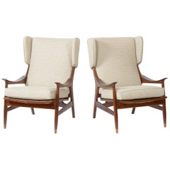 Framar Pair of Italian Midcentury Armchairs New Cotton Fabric