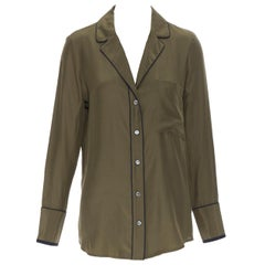 FRAME 100% silk forest green black piping casual pyjama shirt XS