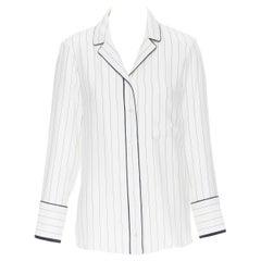 FRAME 100% silk white black vertical stripe black piping casual pyjama shirt XS