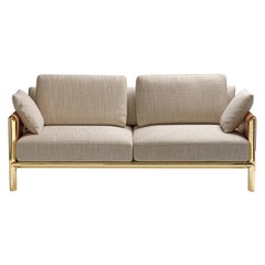 Frame 2 Seaters Sofa in Naturale Fabric with Polished Brass Legs