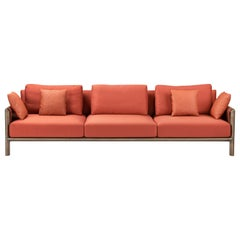 Frame 3 Seaters Sofa in Orange Fabric with Brown Burnished Brass Legs