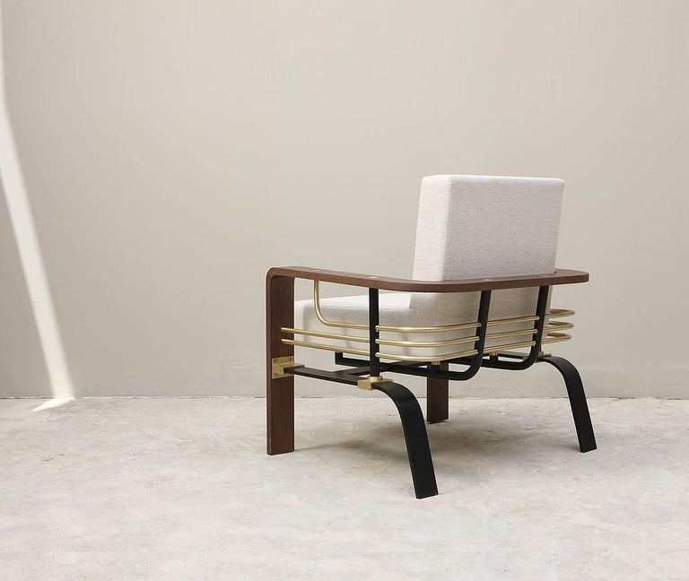 Lebanese Frame Armchair, Contemporary Handmade Brass and Walnut Armchair For Sale