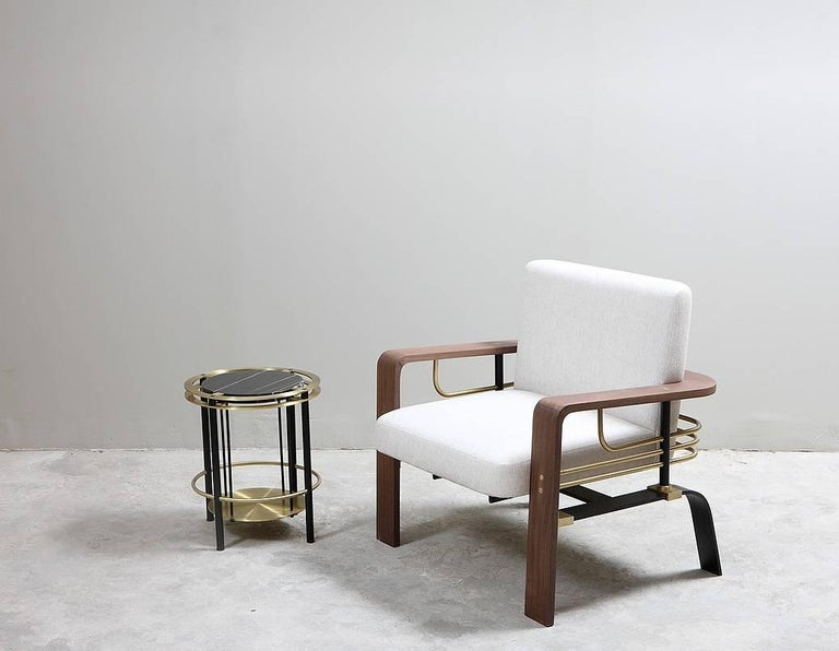 Frame Armchair, Contemporary Handmade Brass and Walnut Armchair In New Condition For Sale In New York, NY