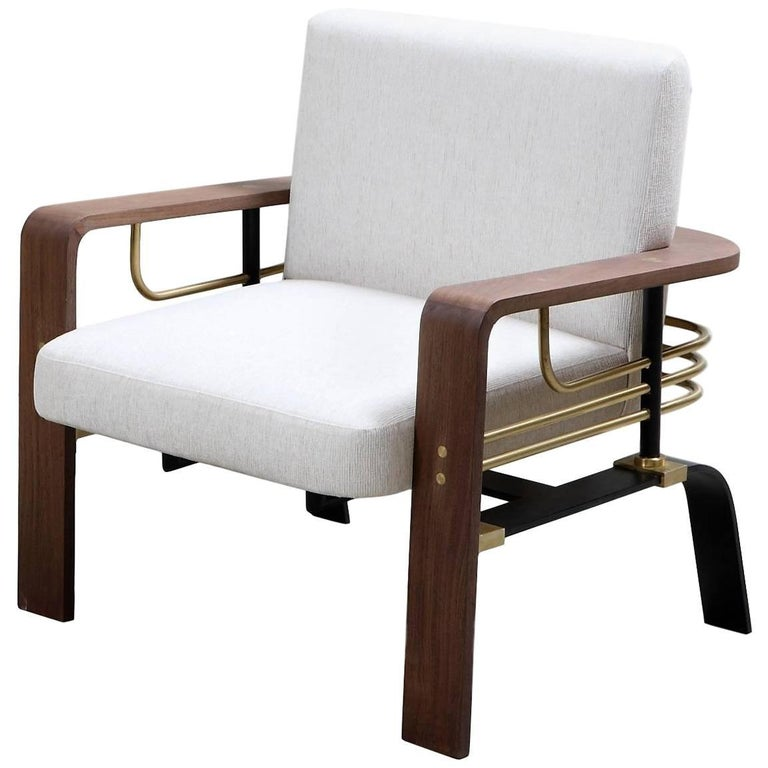 Frame Armchair, Contemporary Handmade Brass and Walnut Armchair For Sale